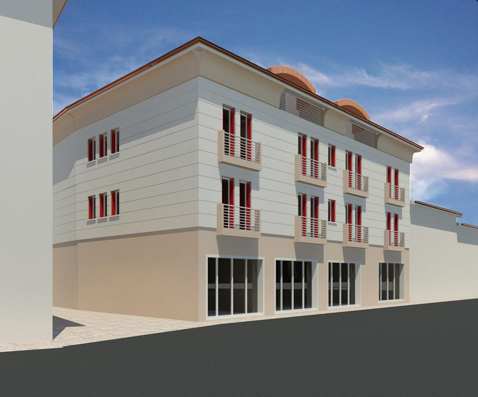Vista 3D balconi rossi